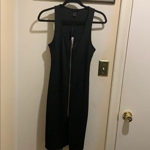 NWT - Black dress with gold zip